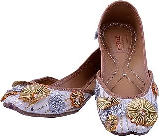 JOPELLE Gotta Work White Handcrafted Leather Hand-Embroidered Work Punjabi Juttis Mojari for Women