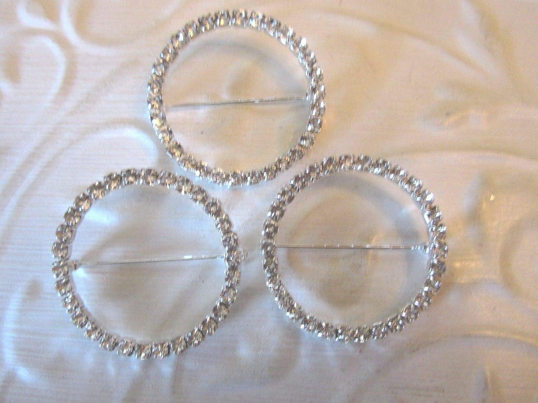 1 2''Crystal free shipping Rhinestone - Circle Pin Brooch Prong pc Set Luxury 3