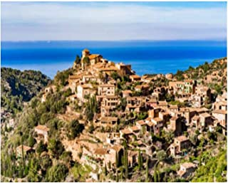 Paint By Numbers old village deia with beautiful sea landscape scenery on majorca Digital Coloring Oil Painting Canvas Wit...