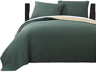 Royal Tradition Project Runway Microfiber Queen Size 3PC Reversible Coverlet Set, Olive with Gold