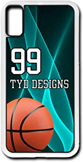 iPhone Xs Basketball Case Fits iPhone Xs or iPhone X Create Your Own Design Cell Phone Case with Any Jersey Number Team Name in Black Rubber BK1008 by TYD Designs