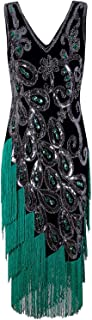 Vijiv Women's Vintage 1920s Style Peacock Sequin Roaring 20s Gatsby Party Flapper Dress