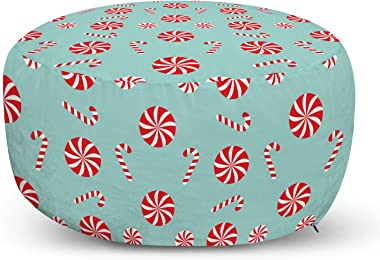 Lunarable Candy Cane Ottoman Pouf, Round and Cane Candy Design Ornamental Christmas Theme Holiday Food, Decorative Soft Foot