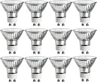 GE 50 Watt MR16 Halogen Light Bulb, Glass Cover, Dimmable, 360 Lumens, 120V, GU10 Base (12 Pack)