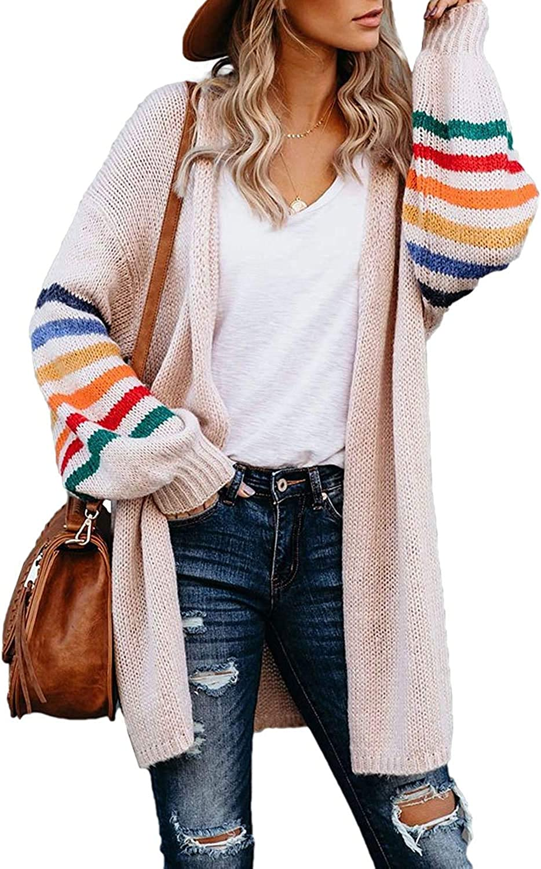 Women's Long Cardigans Open Front Color Block Striped Loose Knit Sweaters Outwear Coat