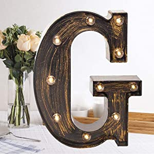 Golden Black Led Marquee Letter – Industrial, Vintage Style Light Up Alphabet Letter Sign for Cafe Wedding Birthday Party Christmas Lamp Home Bar Initials Decor