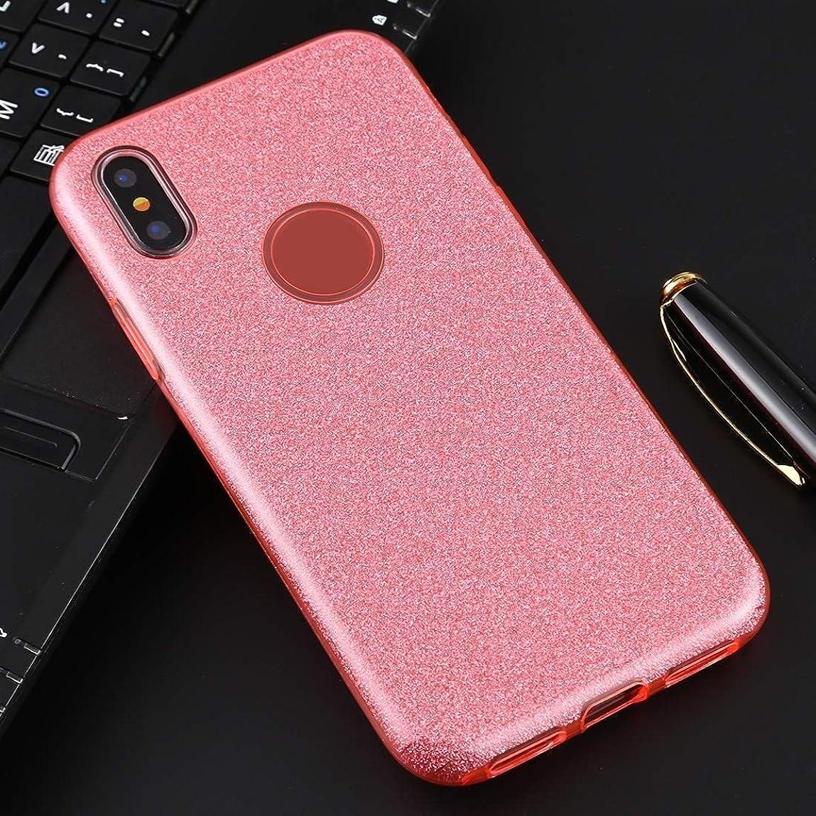 策定する水素下手IPhone XS/XフルカバレッジTPU + PCキラキラパウダーの保護バックケース用 brand:TONWIN (Color : ピンク)