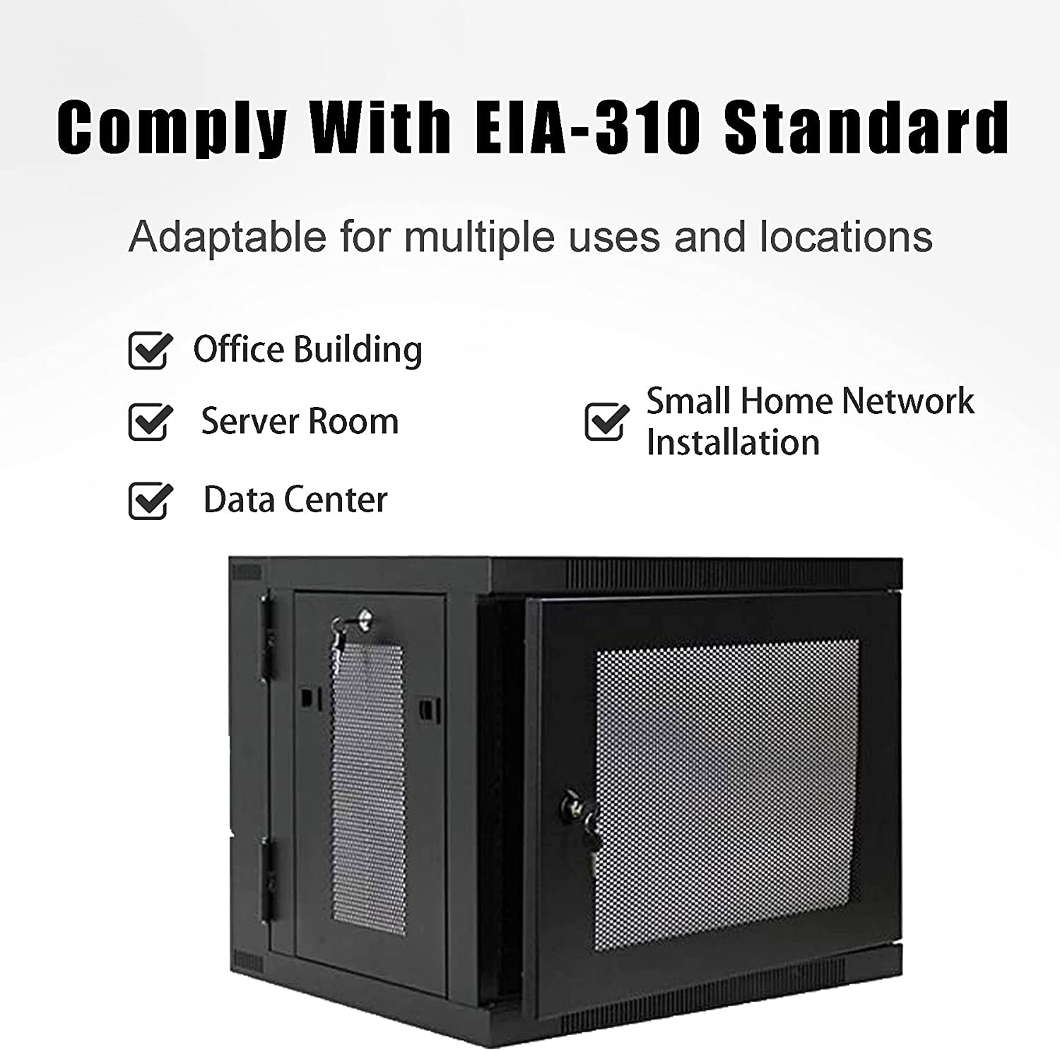FerruNet9U IT Server Network Rack Cabinet Lock with Wall-Mounted Hinge That can Swing Out of The Hole, ApplytoSmall Office, Home Office.