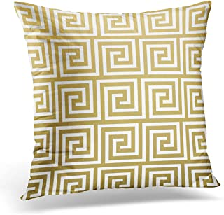 TORASS Throw Pillow Cover Retro Squares Elegant Gold and White Greek Key Contemporary Decorative Pillow Case Home Decor Square 20x20 Inches Pillowcase