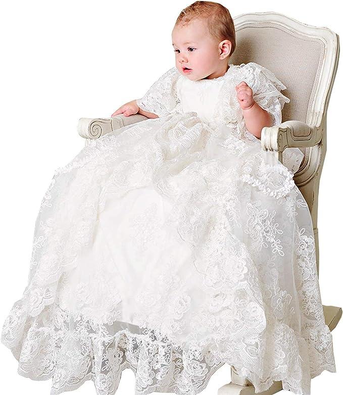 Vipgowns Baby Madchen Lange Taufkleider Besondere Anlasse Taufe Festlich Kleid Mit Hut Und Stirnband Amazon De Bekleidung