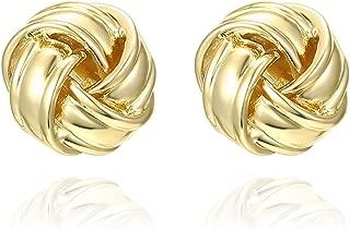 14K Gold Plated Sterling Silver Post Love Knot Stud Earrings | Gold Earrings for Women