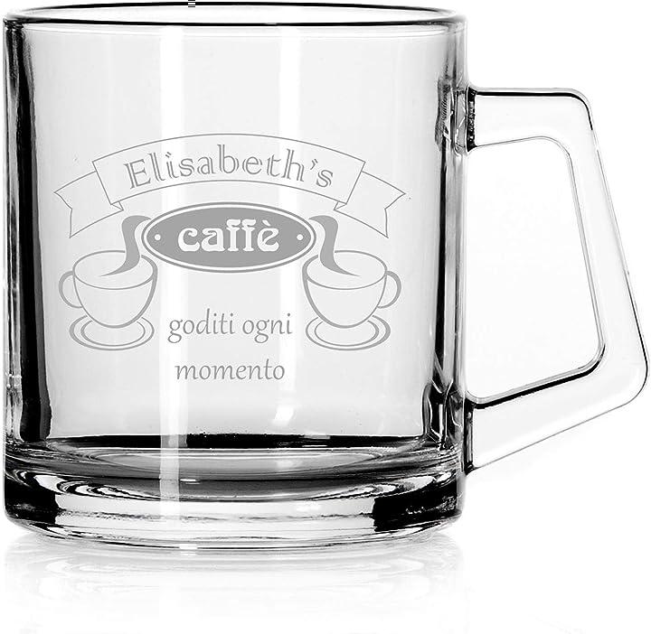 Tazza in vetro trasparente da caffè, personalizzata con incisione - grande -  national engraver B08QYQWJ2X