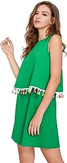 Womens Round Neck Tassel Trim Sleeveless Mini A-line Dress
