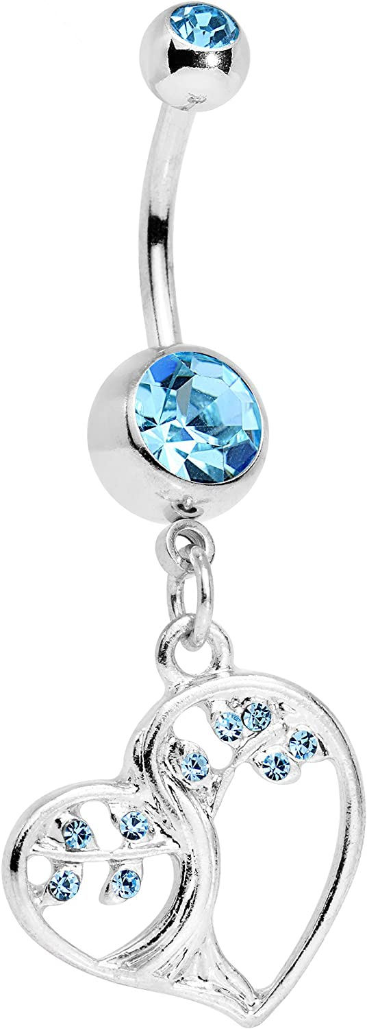 Body Candy Steel Tree of Life Heart Dangle Belly Ring