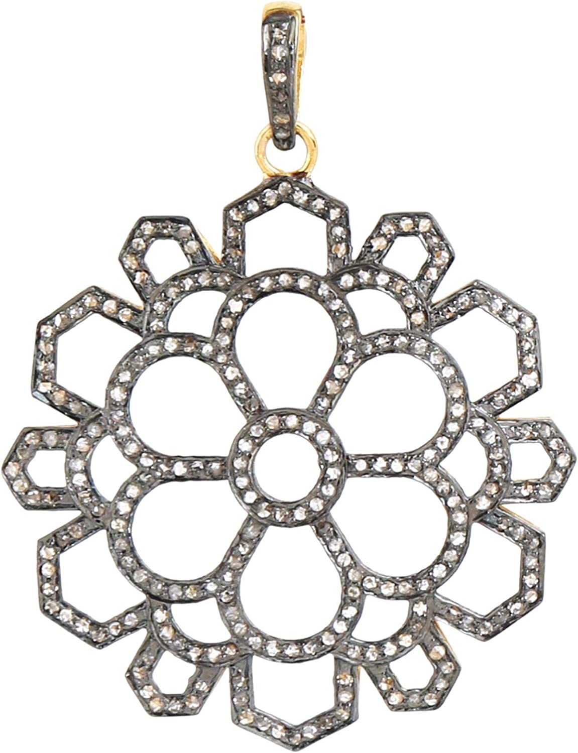 Diamond Floral Round Pendant in 925 Silver 5 ☆ very popular Sterling Carat 1.2 All stores are sold -