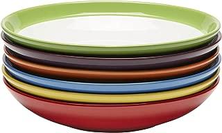 Amethya Premium Ceramic Set of 6, Colorful Meal Stoneware (Pasta and Salad Bowls)