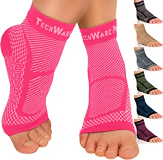 TechWare Pro Ankle Brace Compression Sleeve - Relieves Achilles Tendonitis, Joint Pain. Plantar Fasciitis Foot Sock with Arch Support Reduces Swelling & Heel Spur Pain.