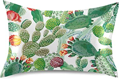 Exotic Cactus Seamless Cacti with Flowers on White Background Silky Satin Pillowcase for Hair and Skin, Soft Breathable Bed P