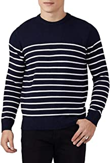 QUALFORT Mens Crewneck Sweater Lightweight Cotton Slim Fit Breathable Knit Casual Pullover Sweater