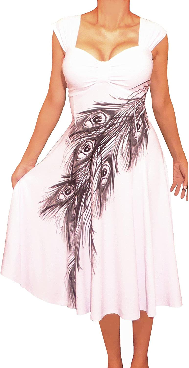Funfash Plus Size Women Empire Waist White Peacock Cocktail Dress Made in USA