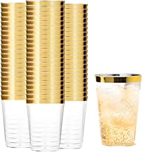 Tebery 100 Pack Gold Rimmed Plastic Cups 12oz Clear Plastic Tumblers Cups Disposable Wedding Cups Elegant Party Cups