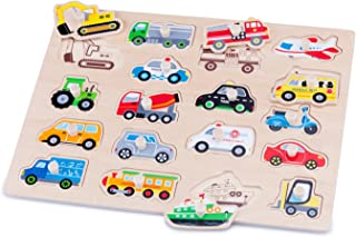 New Classic Toys - Houten speelgoed - Houten knoppuzzel – voertuigen