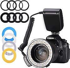 Emial - Linterna de anillo con 48 macros LED con pantalla LCD, control de potencia, anillos adaptadores y difusores de flash, funciona para Canon, cámara Nikon y otras cámaras DSLR