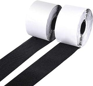 "BQS 2"" Width Self Adhesive Hook and Loop Sticky Back Tape Fastener Length 10' (Black)"
