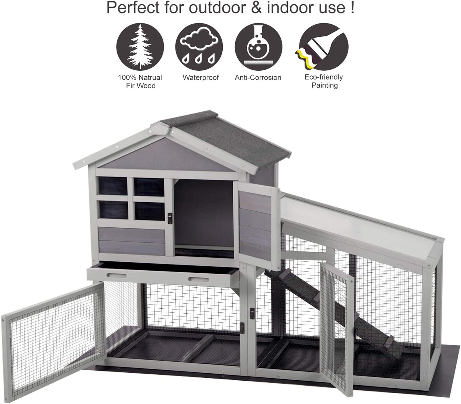 15+ Aivituvin Rabbit Hutch Indoor and Outdoor,Rabbit cage with Deeper No  LeakageTray, Bunny Cage with Removable Bottom Wire Mesh & PVC Layer,  Upgrade ... Image