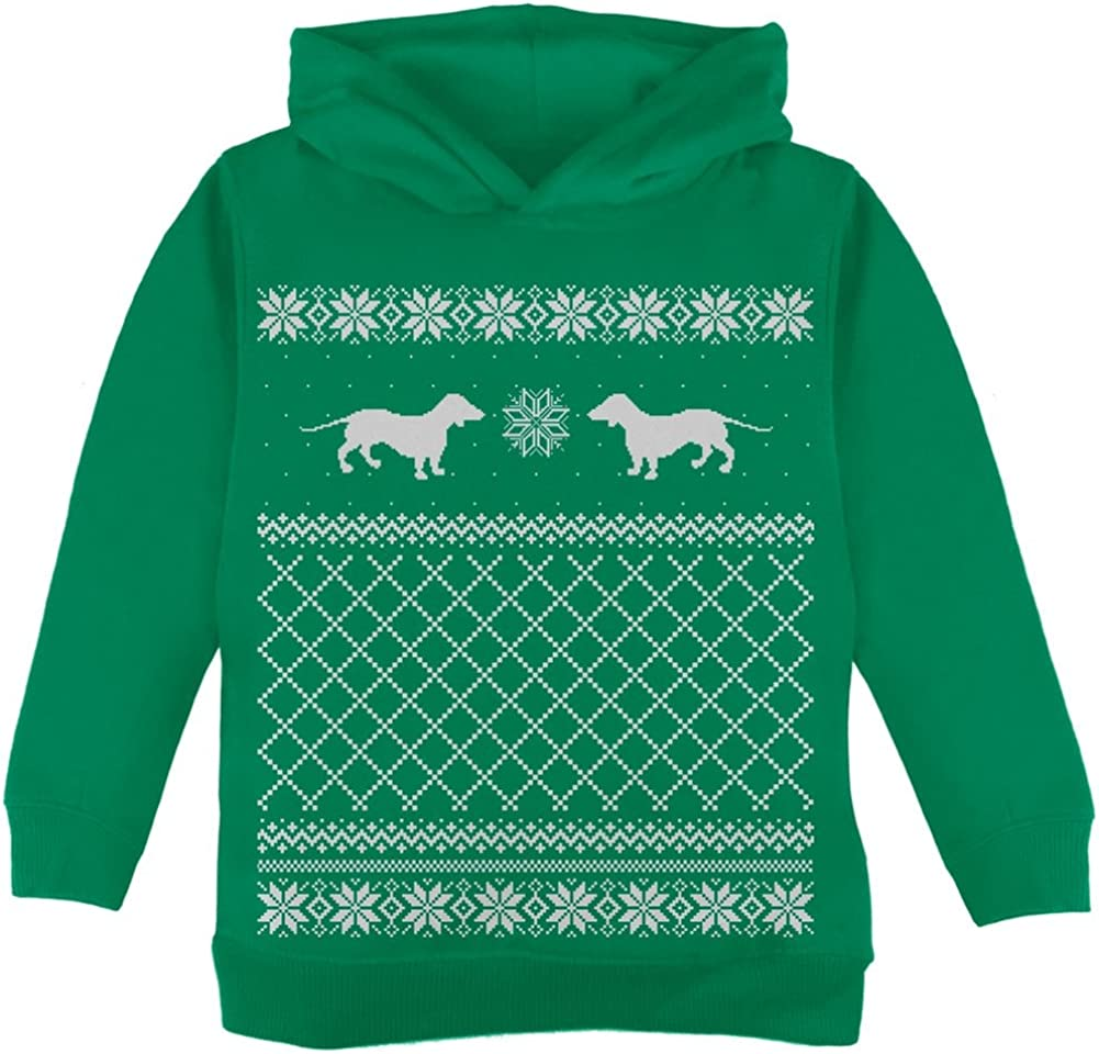 Dachshund Ugly Christmas Sweater Green Toddler Hoodie