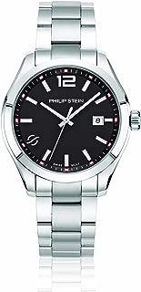 Philip Stein Men's Traveler Swiss-Quartz Watch with Stainless-Steel Strap, Silver, 9 (Model: 92-CBK-SS)