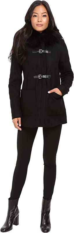 Calvin Klein Fur Trimmed Toggle w/ Oversized Pockets