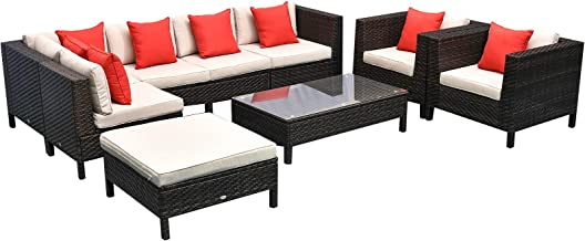 Outsunny 9 Piece Rattan Wicker Outdoor Patio Furniture Sectional Sofa Set