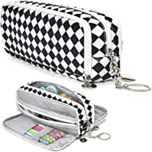 HERRIAT Large Pencil Pouch with Keychain, Durable Canvas Big Capacity Pencil Case Bag for Teen Boys Girls High School Stud...