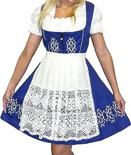 Dirndl Trachten Haus German Oktoberfest Waitress Short Dress 3-Piece Blue