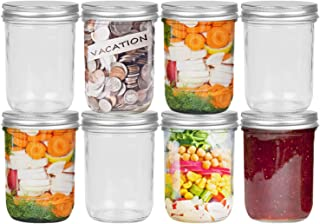 FRUITEAM 16 oz Wide Mouth Large Mason Jars with Silver Metal Airtight Lids, Transparent Glass Canning Jar- Set of 8