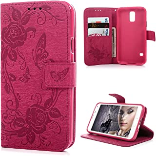 Mavis's Diary Galaxy S5 Case, Fashion Wallet Embossed Peonies Butterflies Premium PU Leather Flip Folio Cover Protective Rubber Inner Case Magnetic Clip & Card Holders for Samsung Galaxy S5 Case- Hot