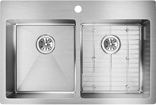 discount Elkay ECTSR33229TBG1 Crosstown Equal Double Bowl Dual Mount Stainless online sale Steel high quality Sink Kit outlet sale