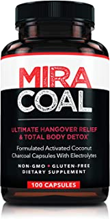 Miracoal Hangover Prevention with Organic Activated Coconut Charcoal   Detox and Relief (100 Capsules) for Alcohol Recovery   A Gluten Free Dietary Supplement with Electrolytes