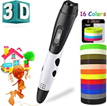 3D Pen with 16 Colors 160Ft PLA Filament Refills 3D Drawing Printing Printer Pen with LCD Screen Automatic Feeding,Christmas Gifts Toys for Kids Adults Non-Clogging (White with 16 Colors PLA)