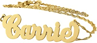 Personalized Name Necklace Solid 14k Gold Dainty Pendant Monogrammed Initial Charm
