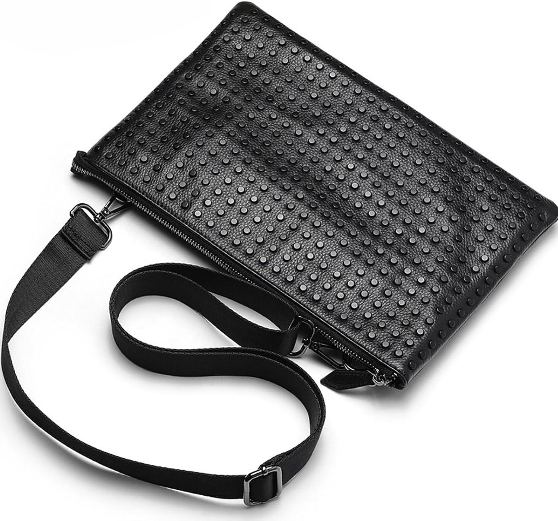 Lssige Rivet Clutch Messenger Bag Mode Schultertasche Rucksack (Farbe   schwarz)
