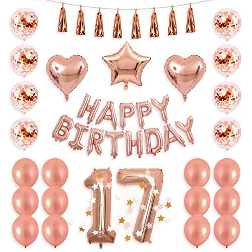 BALONA 40inch Rose Gold 17th Number Balloon 12inch Confetti With Happy Birthday Banner