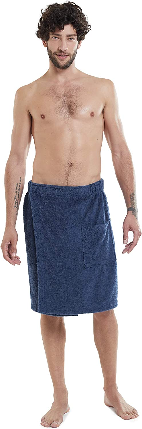 SIORO Mens Towel Wrap Spa Bath Robe Bamboo Cotton Body Wrap Towels with Adjustable Closure for Sauna Pool