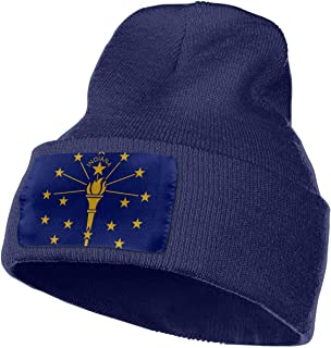 Unisex Indiana State Flag Beanie Hat Winter Warm Knit Skull Hat Cap