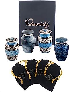 Forever in our Hearts Classic Blue Keepsake Urns Set of 4 - Beautiful Shades of Blue Mini Keepsakes - Keepsake Urns - Blue...