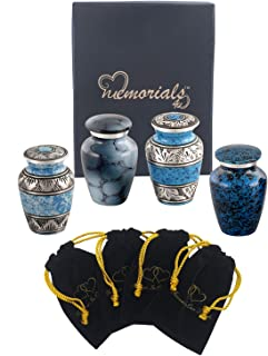Forever in Our Hearts Classic Keepsake Urns Set of 4 - Beautiful Shades of Mini Keepsakes - Keepsake Urns - Token Urns - Handcrafted & Affordable Mini Urns for Ashes with 4 Velvet Bags (Blue)