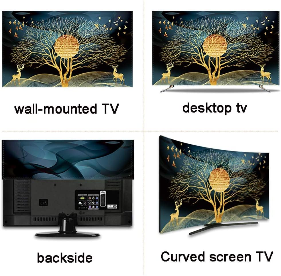 Polyester Dust Proof TV Screen Protector Cover Fabric for LCD LED 32-75 Inches TV Cover Indoor Bedroom Living Room Decoration Smooth Soft Dust Cover with Painting Printing Size : 75in