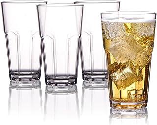 MICHLEY MICHLEY Unzerbrechlich Tritan-Kunststoff wassergläser, trinkglas, longdrink gläser fur Camping Party, BPA-frei 340 ml plastik Tasse 4er set