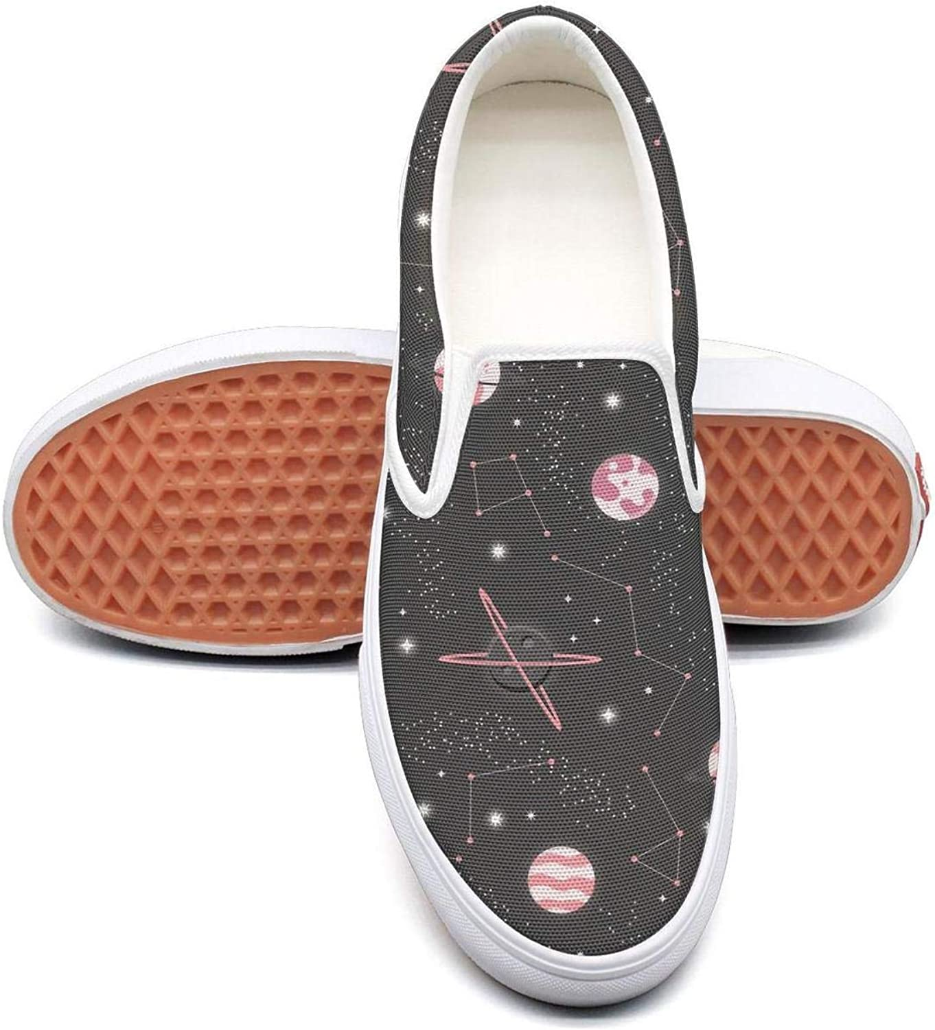 Feenfling Universe with Planets Womens Casual Slip on Low Top Canvas Tennis shoes